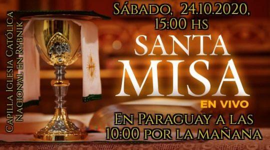 Santa Misa en español en vivo desde capilla San Miguel Arcángel en Rybnik, Polonia, Iglesia Católica Nacional. Sábado 24.10.2020, 15:00 hs